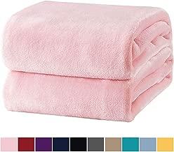Bedsure Manta para Sofás de Franela 150x200cm - Manta para Cama 90 Reversible de 100% Microfibre Extra Suave - Manta Rosa Transpirable