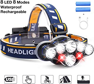 MOSFiATA Headlamp Flashlight Rechargeable, Xtreme Bright head lamp 13000 Lumen Headlights IPX4 Waterproof Headlamps for Adults Camping Fishing Hunting Running Jogging Hiking Cycling with Red Light