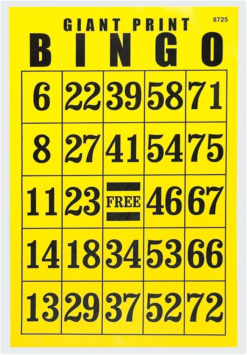 Giant Print Bingo Card - Black Background Reduced security Pr Fixed price for sale on Yellow