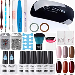 Gellen Gel Nail Polish Starter Kit With Nail Light- Selected 6 Colors With Top Base Coats Rhinestones Nail Art Designs Manicure Tools For Travel Home, Pink Gray Reds