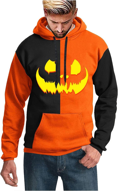 Men's Halloween Hoodies Stitching Pumpkin Ghost 3D Print Pollover Sweatershirts