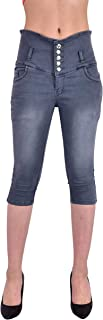 Luxsis Women's/Ladies/Girls Skinny Fit Denim High Waist Plain Capri - Four Colors