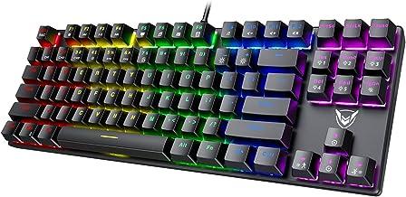 PICTEK TKL Mechanical Gaming Keyboard, RGB LED Rainbow Backlit 60% keyboard with Blue Switches, 27 LED Lighting Modes 87 K...