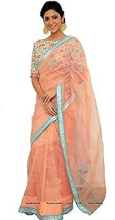MONIKA SILK MILL Women's Banarasi Net Saree with Blouse Piece (SASTYLE- 519P_Peach)