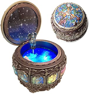 Amperer Vintage Music Box with Constellations Rotating Goddess LED Lights ling Resin Carved Mechanism Musical Box with San...
