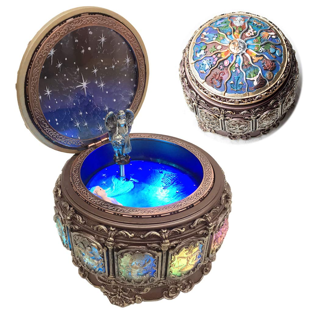Amperer - Caja de música Vintage con Constelaciones giratorias, Luces LED, Mecanismo de Resina, Caja Musical Tallada con 18 Notas, Signos del Zodiaco para cumpleaños: Amazon.es: Hogar