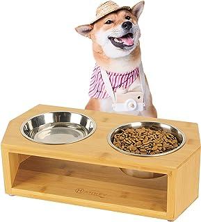 HANKEY ペットボウル 犬 猫 食器 犬用 フードボウル ペット食器台 フードボウルスタンド 餌皿 水入れ ステンレス製 竹製 小型犬 中型犬 (M)