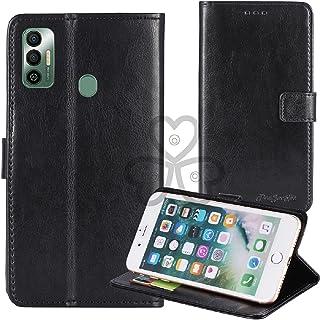 TienJueShi Black Book Stand Retro Flip Leather Protector Phone TPU Silicone Case For Tecno Spark 7 6.5 inch Gel Cover Etui...