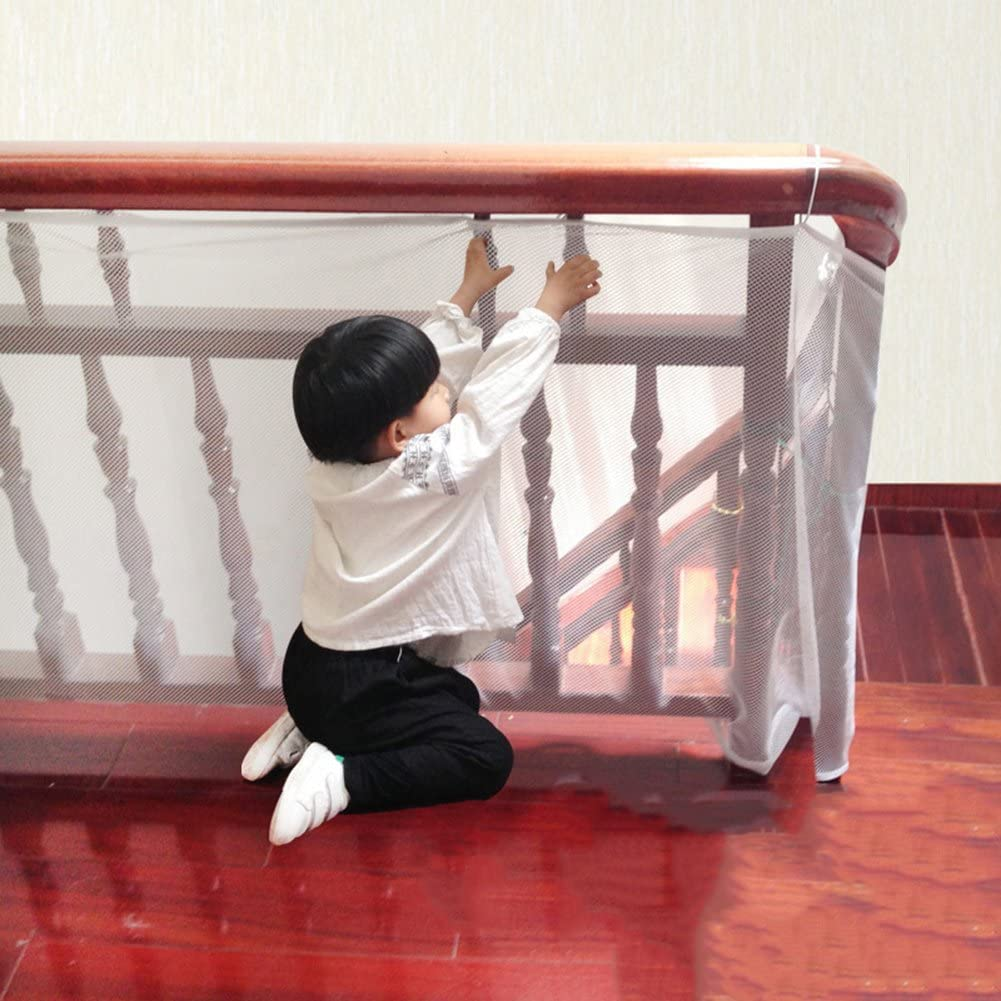Child Safety Rail Net for Balcony, Patios, Railing and Stairs. Security Guards for Kids/Pet/Toy Both Indoors and Outdoors. 10ft x2.5ft, Sturdy Mesh Fabric Material