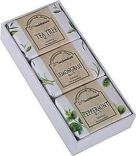 Touch Nature Mini Herbal Garden Gift Set. 3pc 50g. Tea Tree. Lemongrass. Peppermint. Natural Handmade Bar and Castile Soap. No Parabens. No Sulphates. Bio-Degradable. Detoxifying.