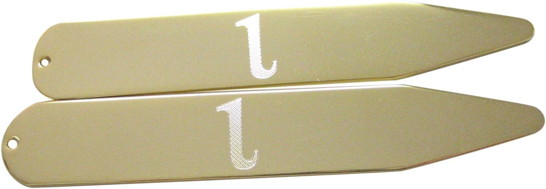 Kiola Designs Gold Toned Etched Greek Letter Iota Collar Stays