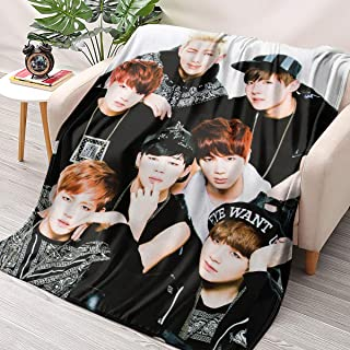 """NBBZ Kpop BTS Band Flannel Throws Blankets Couch Sofa Fuzzy Blanket for Traveling Camping Home (70"""" x 79"""" / 180cm x 200cm)"""