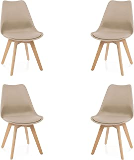 Due-Home - Beench - Pack 4 sillas Tower Madera Haya sillas de Comedor Estilo nordico Medidas: 83 cm (Alto) x 49 (Ancho) ...