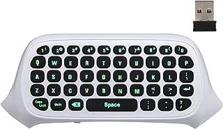 Xbox One ミニ キーボード - ATiC Xbox One/Xbox One S/Xbox one elite コントローラー用 2.4G 受信機 ワイヤレス チャットパッド 47キー ミュート&マイク機能が付き グリーンバックライト機能付き 装着簡単 White