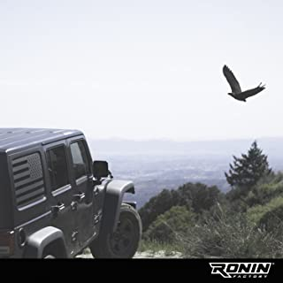 Ronin Factory - Jeep American Flag Window Decal Accessory - 2007+ JKU & JLU - Matte Black Vinyl - Trimming Knife Included