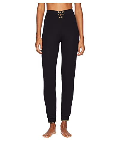 ELSE Urban Lace-Up High-Waisted Track Pants (Black) Women