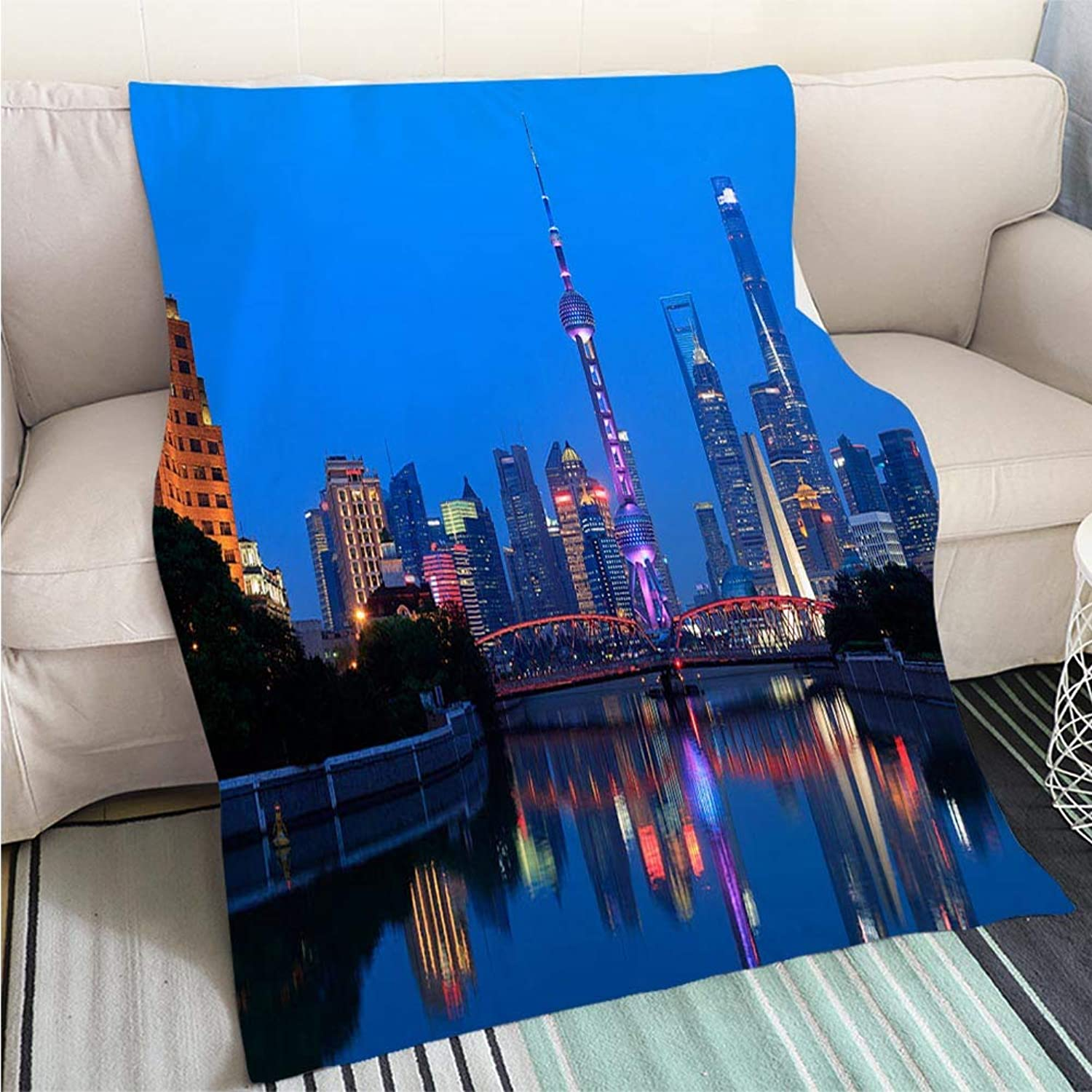 BEICICI Art Design Photos Cool Quilt The Bund of Shanghai Panorama Fashion Ultra Cozy Flannel Blanket