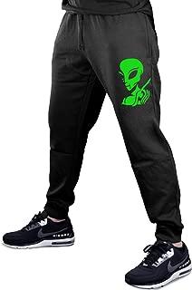 Interstate Apparel Alien Peace Finger Probe V357 Men's Black Fleece Gym Jogger Sweatpants