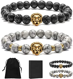 Bead Bracelets for Women Men - 8mm Natural Tiger Eye Beads Lava Rock Stone Bracelet with Tassel Charm, Healing Essential Oil Diffuser Anxiety Protection Bracelet Jewelry Gifts
