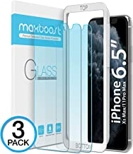 "Maxboost (3 Pack) Screen Protector with Anti-Blue Compatible Apple iPhone 11 Pro Max and iPhone Xs Max (6.5"") [Blue Light Filtering + Eye Protection Tempered Glass] Advance HD Clarity Work Most Case"