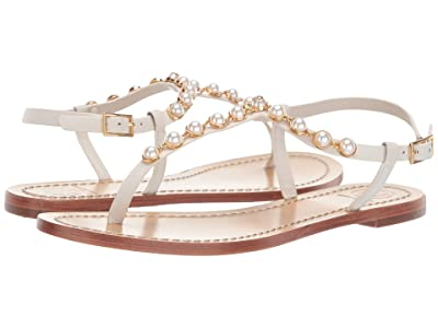 Tory Burch Emmy Pearl Sandal (Linen White) Women
