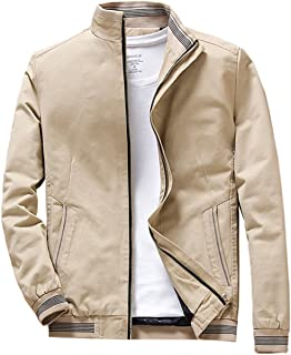 Mens Stand Collar Cotton Coat Outerwear, Front Zip Jacket
