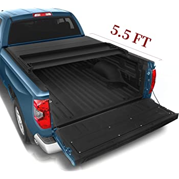 Amazon Com Yitamotor Tri Fold Truck Bed Tonneau Cover Compatible With 2014 2020 Toyota Tundra With Track Bed Rail System Fleetside 5 5 Ft Soft Pickup Cargo Bed Waterproof Automotive