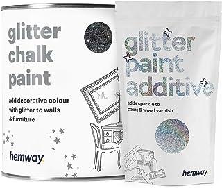 Hemway | Pintura de tiza con purpurina negra - 1 litro / holográfica de plata