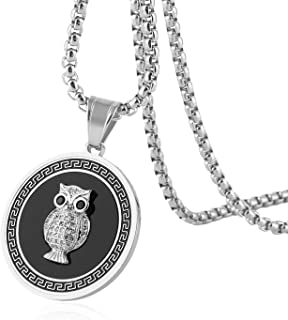 HZMAN18k Real Gold Plated Iced Out CZ Owl Stainless Steel Round Medal Pendant Necklace 24
