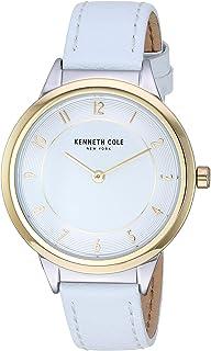 كينيث كول كلاسيك ستانلس ستيل مينا بيضاء سوار جلد أبيض للسيدات KC50795004