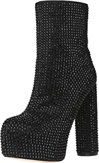 Stupmary Women's Ankle Boots Round Toe Rhinestone Crystal Platform Mid-Calf Bootie Cylinder Block High Heeled