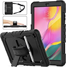 SEYMAC Stock Samsung Galaxy Tab A 10.1 T510/T515 Case 2019, Three Layer Hybrid Drop Protection Case with [360 Rotating Stand] Hand Strap &[Stylus Pencil Holder] for Samsung Galaxy Tab A 10.1 (Black)
