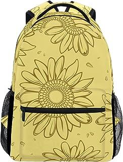 TIZORAX gelb Sonnenblumen Rucksack Schulranzen Segeltuch Wandern Reise Rucksack