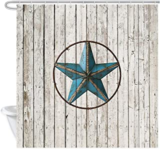Western Star on Wooden Shower Curtain, Rustic Wooden Texas Star Five Point Western Country Southwestern Decor Bath Curtains, Farmhouse Showre Curtain for Bathroom 12PCS Hooks, 69X70IN Bath Accessories