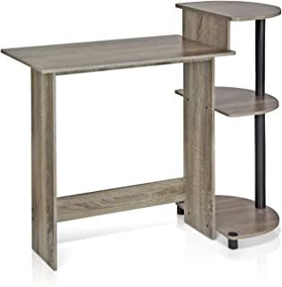 FURINNO 11181GYW/BK Compact Computer Desk with Shelves, Round Side, French Oak Grey/Black