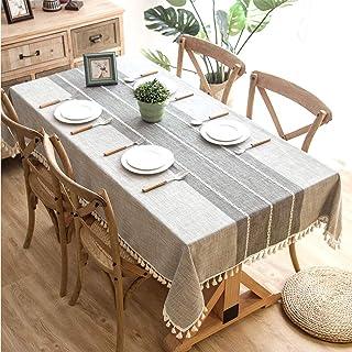 مفرش طاولة من قماش الكتان، غطاء طاولة مستطيل مقاوم للماء خالي من التجاعيد ومقاوم للاتربة 140x180 سم (55x70 انش)