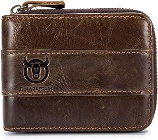 BULLCAPTAIN Leather Wallet Zipper Men Wallet, Mens RFID Antimagnetic Genuine Leather 11 Card Slots Wallet Coin Purse Walle...
