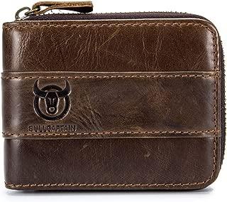 BULLCAPTAIN Leather Wallet Zipper Men Wallet, Mens RFID Antimagnetic Genuine Leather 11 Card Slots Wallet Coin Purse Wallet Credit Card Holder (Brown)