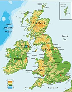 United Kingdom Ireland Scotland Topographical City Atlantic Ocean Map Cool Huge Large Giant Poster Art 36x54