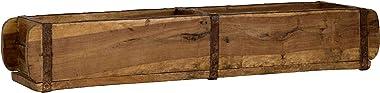 Vieille forme de brique 57 x 15 x 9,5 cm – Boîte en bois vintage avec ferrures métalliques – Véritable forme usée en Inde en