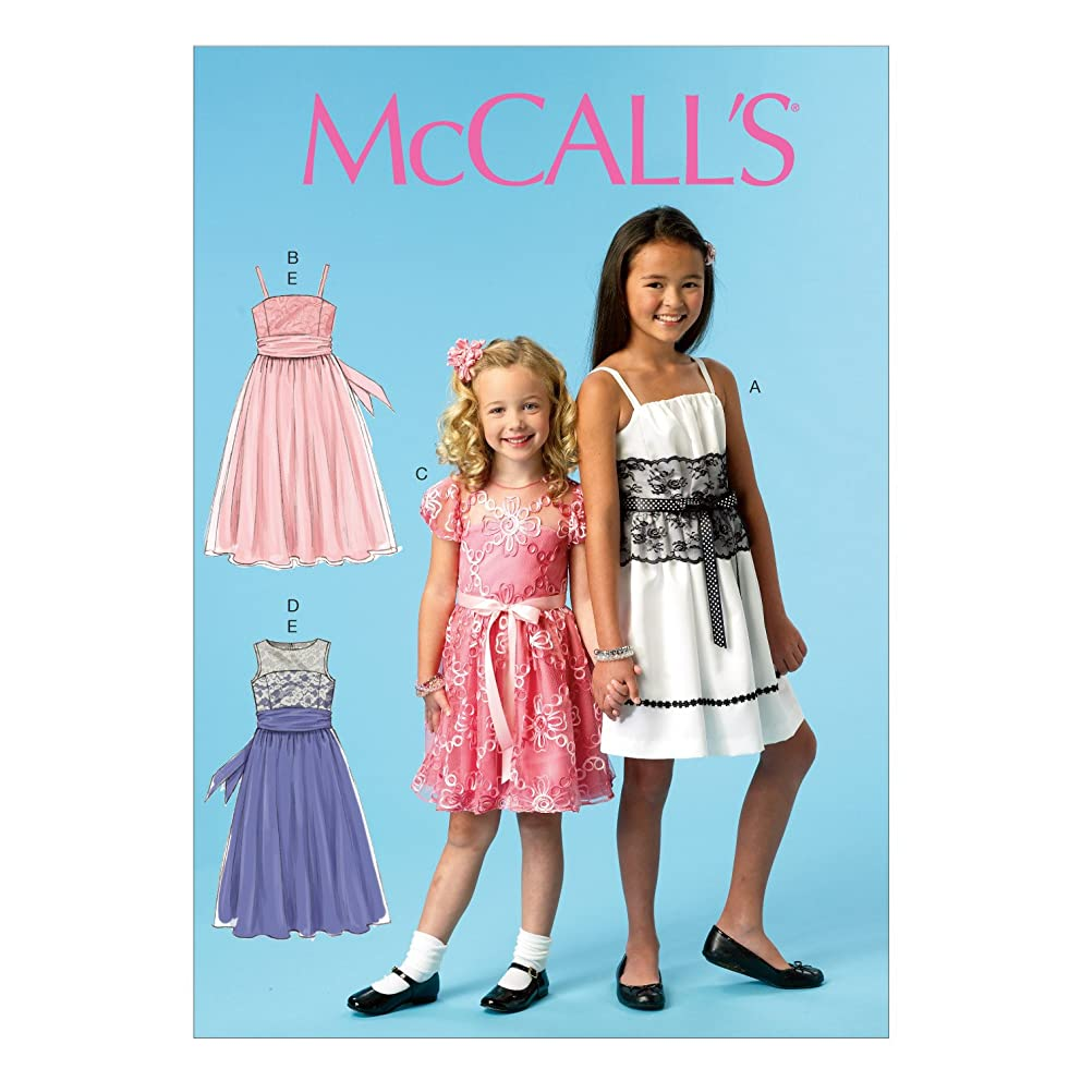 McCall Pattern Company M6880 Children's/Girls' Dresses and Sash Sewing Template, Size CCE (3-4-5-6)