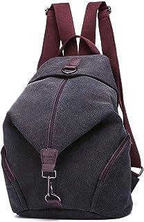 JOSEKO Frauen Leinwand Rucksack, Canvas Tasche Rucksäcke Damen Umhängentasche Große Kapazität Reisetasche Vintage Schultasche für Reise Outdoor SchuleSchwarz