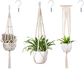 3 Pack Macrame Plant Hanger,Handmade Wall Hanging Planters Basket Holder with Hooks,Wall Art Boho Style for Indoor Outdoor Home Décor (Style-B)