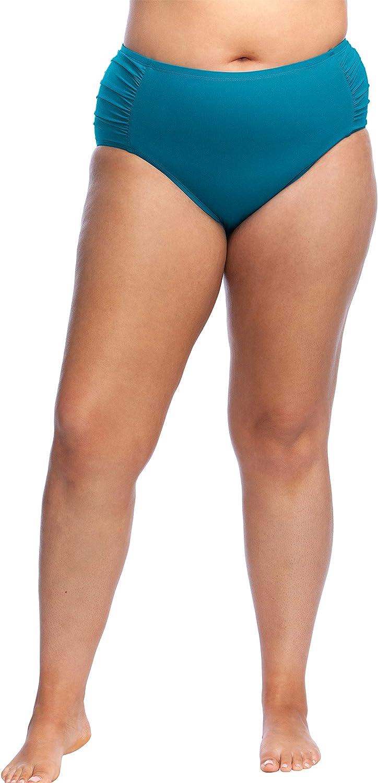 Kenneth Cole REACTION Women's Plus-Size Mid Waist Hipster Bikini Swimsuit Bottom