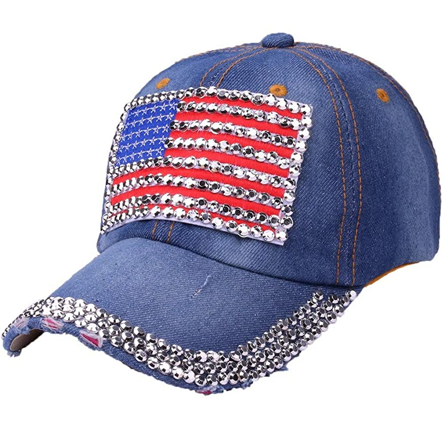 土地可動式任命するRacazing Cap カウボーイ 野球帽 ヒップホップ 通気性のある ラインストーン 帽子 夏 登山 アメリカの旗 可調整可能 棒球帽 男女兼用 UV 帽子 軽量 屋外 ジーンズ Unisex Cap (C)