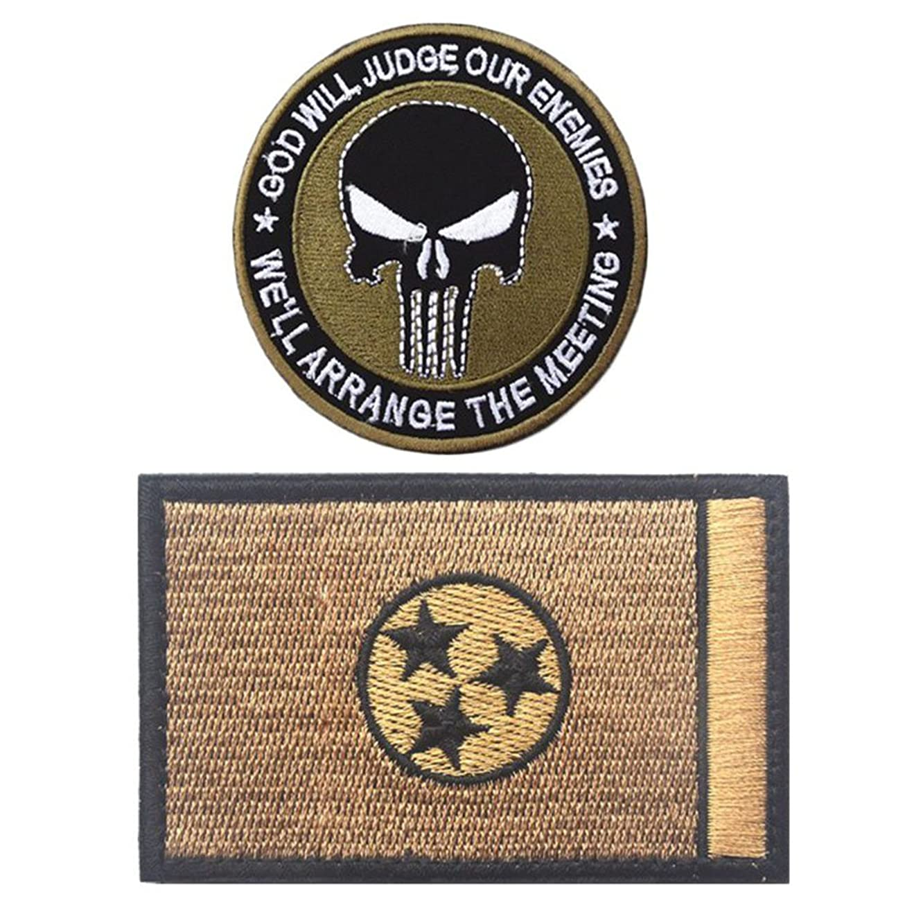 Embroidery USA Tennessee State Flag and Punisher Tactical Patches (3