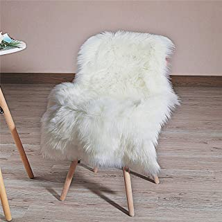 HLZHOU Soft Faux Fur Rug White Sheepskin Chair Cover Seat Pad Shaggy Area Rugs for Bedroom Sofa Living Room Floor(2 x 3 Feet (60 x 90 cm) White)