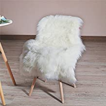 HLZHOU Faux Fur Soft Fluffy Single Sheepskin Style Rug Chair Cover Seat Pad Shaggy Area Rugs For Bedroom Sofa Floor (2x3 F...