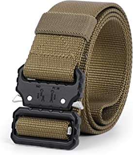 WHIPPY 2019 Tactical Military Webbing Nylon Belt,Webbing Gun Belt in Quick-Release Metal Buckle