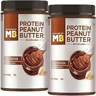 MuscleBlaze High Protein Peanut Butter,750g (Dark Chocolate) (Dark Chocolate, Pack of 2 (1500g))